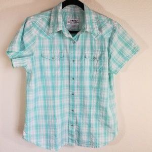 Back in the saddle plaid Western women shirt